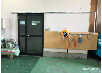 自動車整備工場・板金塗装工場エアー配管事例