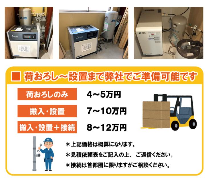 業務用エアーコンプレッサー設置例。荷下ろし・搬入・設置までエアーコンプレッサー専門店にお任せ下さい