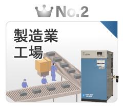 静音SLPエアーコンプレッサー業種で選ぶ人気ランキング2位:製造業・工場