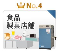 静音SLPエアーコンプレッサー業種で選ぶ人気ランキング4位:食品工場・製菓店舗